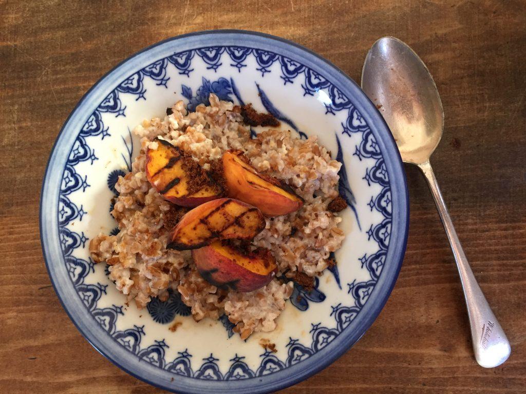 Farro porridge in bowl