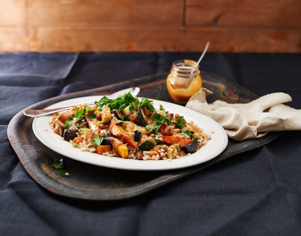 Barley and nutty roast vegetable salad